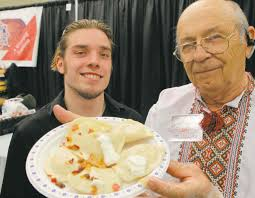 lawrence porhownik right and james aitkenhead display some of the perogies made in garson