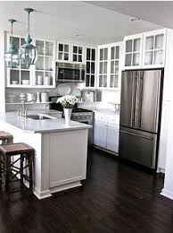 kitchens with white cabinets and dark floors. White Cabinets With Dark Floor, Glass Cabinet Doors Open Up Small Kitchen Kitchens And Floors R