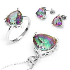 whole women triangle genuine rainbow fire mystic topaz ring pendant earring wedding engagement set 925 solid sterling silver jewellery s engagement