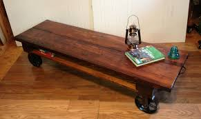 ... Coffee Table, Simple Brown Rectangle Industrial Wood Coffee Table With  Wheels Idea: Incredible Industrial ...