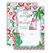 Christmas Birthday Party Invitations Amazon Com Winter Tropical Flamingo Themed Holiday Christmas