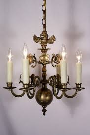 sold stunning antique figural six light cast brass chandelier eagle 19th century