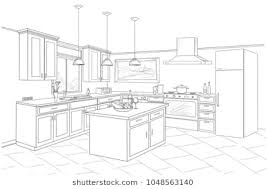 simple kitchen drawing. Contemporary Kitchen Interior Sketch Of Kitchen Room Outline Blueprint Design With  Modern Furniture And Island With Simple Kitchen Drawing