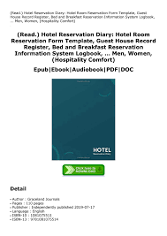 Diary Format Template Read Hotel Reservation Diary Hotel Room Reservation Form