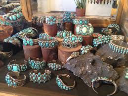 vine turquoise in a display case at shiprock in santa fe s plaza