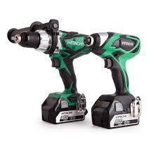 hitachi battery drill. hitachi kc18dkl/jb 18v cordless li-ion 2 piece combi drill \u0026 impact driver kit (2 x battery i