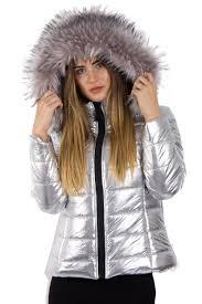 silver metalic shine faux fur bubble coat