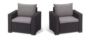 allibert by keter california armchair duo rattan outdoor garden furniture set graphite with grey cushions amazon co uk garden outdoors