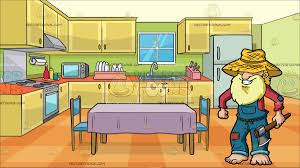 kitchen table clipart. an old yokel farmer at a family kitchen with dining table and two chairs clipart t