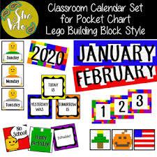 Classroom Calendar Set For Pocket Chart Lego Style Editable