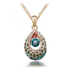 18k gold plated luxury water drop angel crystal necklaces pendants for women
