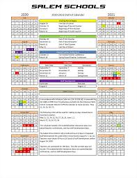 2020 2021 School Calendar Salem School District