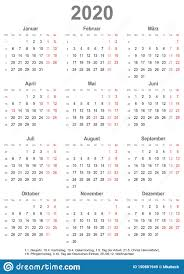 2020 Year At A Glance Calendar Template Simple Calendar 2020 With Public Holidays For Germany Stock