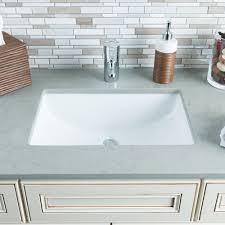 Hahn Ceramic Large Rectangular Undermount Bowl White Bathroom Sink ...