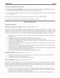 Sample Resume For Facility Maintenance Manager Maintenance Manager Resume Sample Elegant Production Cover New 52