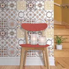 muriva tile pattern retro fl motif kitchen bathroom vinyl wallpaper j95605