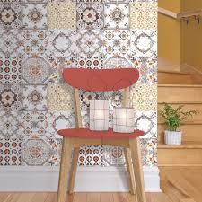 muriva tile pattern retro fl motif kitchen bathroom vinyl wallpaper j95605