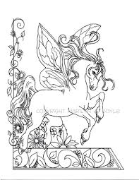 Adult Coloring Page Fantasy Fairy Horse Flowers Garden Etsy