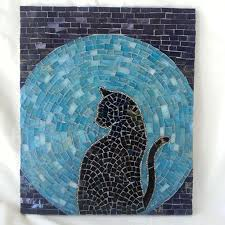 Mosaic Design Ideas Cat Moon Rising Stained Glass Mosaic By Houseoftherisingcat