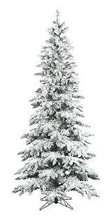7.5' Pre-Lit Snow Flocked Layered Utica Slim Christmas Tree - Clear LED  Lights