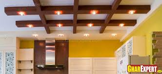 wooden plank ceiling with ligh