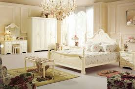 wonderful teenage girl bedroom decorating ideas with lovely crystal chandelier and classic vintage french style queen size beds also rectangle bench on cute