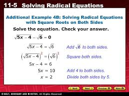 additional example 4b solving radical equations with square roots on both sides