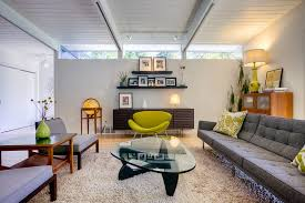mid century modern design ideas living room midcentury with exposed beams floating shelves