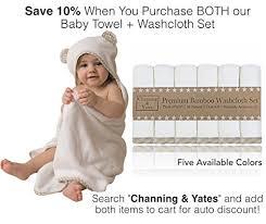 Premium Hooded Baby Towels and Washcloth Set - Organic Bamboo Baby ...