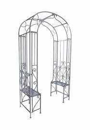 arbour steel garden arch with garden benches