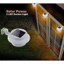 solar outdoor light fence garden gutter roof wall pathway 3 led lamp