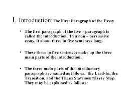 acc the traditional five paragraph essay 3 i introduction the first paragraph of the essay