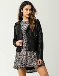 Ci Sono Fur Lined Womens Faux Leather Jacket Black