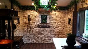 Stacked stone veneer panels have a realistic look that make any bathroom  look fabulous.