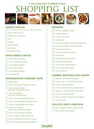 Weekly Food Menu Chart 7 Day Budget Meal Plan Shopping List Eatingwell