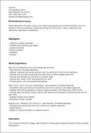 Bartending Resume Templates | Musiccityspiritsandcocktail.com