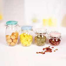 airtight candy jar mason jar candle jar glass storage jar with clip clamp locking lid