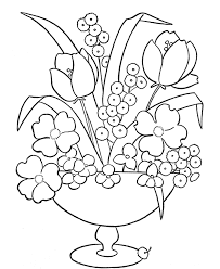 Small Picture Flowers Vase Coloring Pages Printable Flower Page V Within In