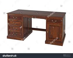 antique wooden office desk isolated on white background