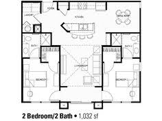 ideas about Bedroom House Plans on Pinterest   House plans    affordable two bedroom house plans   I like it minus the fact that company would have to walk through one of the bedrooms to get to the bathrooms