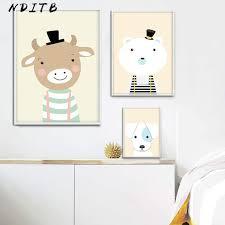 Online Shop <b>Woodland Animal Cartoon Canvas</b> Poster Nursery Wall ...