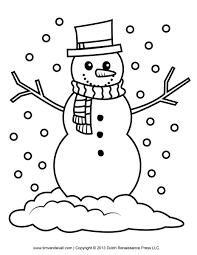 Printable Snowman Coloring Pages With Free Clipart Template For Kids