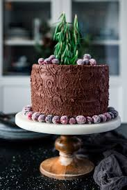 Double Chocolate Tree Stump Cake With Sugared Cranberries A Simple