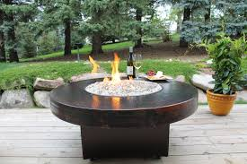 amazing firepit table for your patio decor round copper gas firepit table for amazing backyard