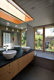 bathroom track lighting master bathroom ideas. Stained Glass Window Hangings Bathroom Midcentury With Paneled Ceiling His And Her Sinks Track Lighting Master Ideas