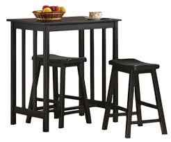 Amazon.com: 3 Piece Black Finish Table & Saddle Bar Stool Set: Kitchen &  Dining