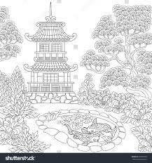 Coloring Page Of Oriental Temple Japanese
