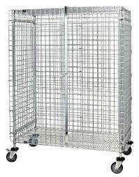 stationary and mobile lockable wire shelving units