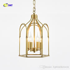 american country creative attic led chandelier modern simple copper birdcage villa study decoration stairs light fixture copper birdcage led chandelier