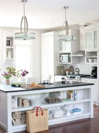 Modern Crystal Pendant Lighting With Metal Shade Over Kitchen Island